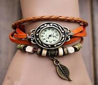 Часы Многослойные Листик/кварцевые/цвет оранжевый
