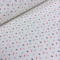 Ткань хлопковая Mist с мелкими листиками на светло-бежевом фоне №010