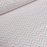 Ткань хлопковая Mist зигзаг серо-розовый на молочном фоне  №014