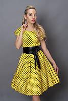 Желтое платье из джинса в горохи