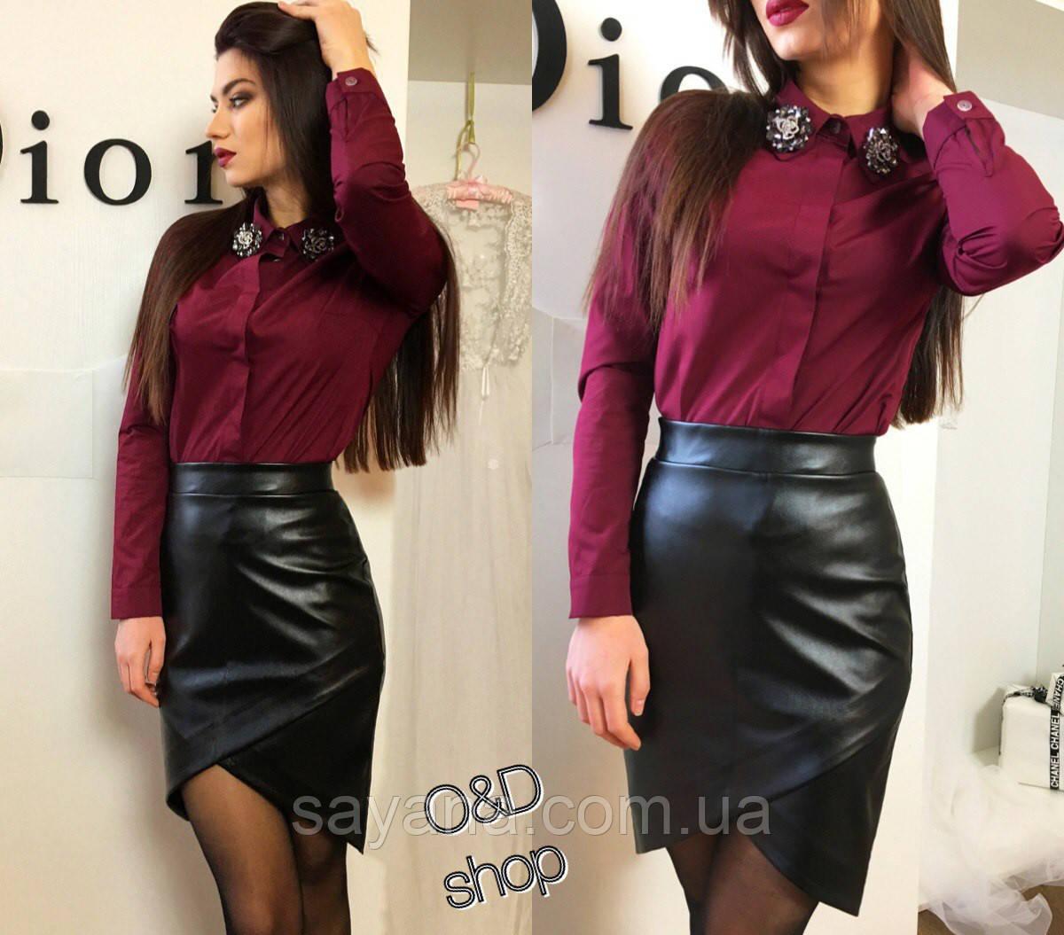 Женская классическая рубашка с брошками, 3 цвета. Оц-3-0217