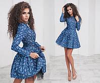 Красивое женское молодежное короткое пышное платье-татьянка с подъюбником с поясом с длинным рукавом с принтом