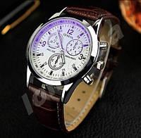 Мужские кварцевые часы Geneva Phantom blue mirror Brown
