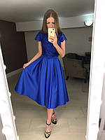Элегантный женский костюм (топ набивной гипюр с отделкой кружева, пышная юбка атлас, склады) РАЗНЫЕ ЦВЕТА!