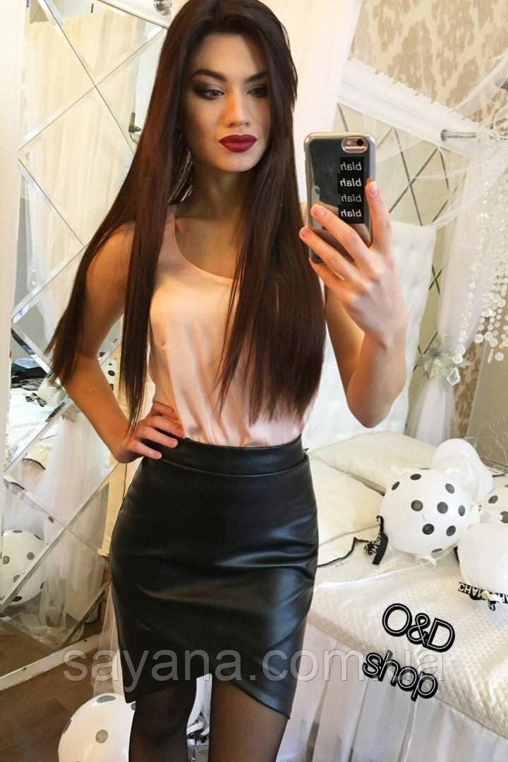Женская юбка из эко-кожи, 2 цвета. Оц-4-0217