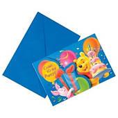 Пригласительные Винни Пух с конвертами 6 шт 1510-1036