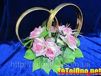 Кольца с цветами №8 золотые на свадебное авто