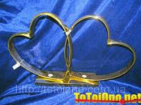 Кольца-сердца №6 золотые на свадебный автомобиль