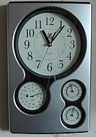 Часы настенные (метеостанция - барометр, гигрометр, термометр). Кварцевые.