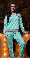 Комбинированный женский спортивный костюм свободного фасона рукав длинный турецкая двух нить рибана