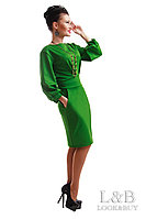 Платье женское туника с поясом карманами и рукавом фонарик 42 44 46 48 50 Р, фото 1