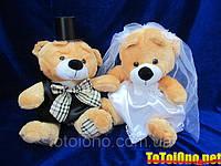 Свадебные медвежата 40 см, Персиковый (132)