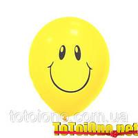 """Качество! Шары на Детский праздник М 12"""" Шары с рисунком """"Улыбки желтые"""" 100 шт"""