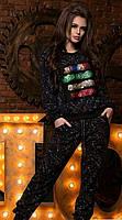 Принтованный женский спортивный костюм свободного фасона рукав длинный турецкая двух нить