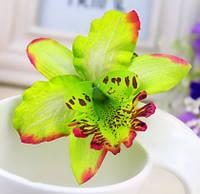 Заколка Орхидея/бижутерия/цвет зеленая