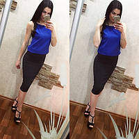 Стильная женская юбка  однотонная черная