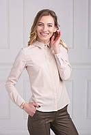 Однотонная офисная блуза из сатина с рубашечным воротником
