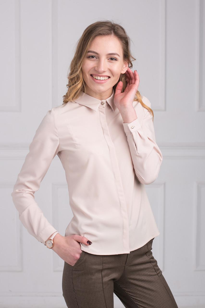 e04079a283f Однотонная офисная блуза из сатина с рубашечным воротником