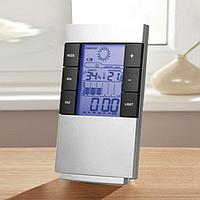 Метеостанция с часами и показаниями влажности, температуры и уровня комфорта.