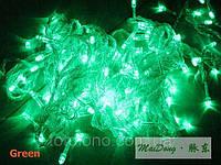 Электрогирлянда LED зеленая новогодняя 100 лампочек