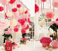 Помпоны свадебные бумажные для украшения зала, Диаметр 35 см