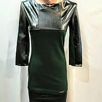 Платье трикотажное с кожаными вставками