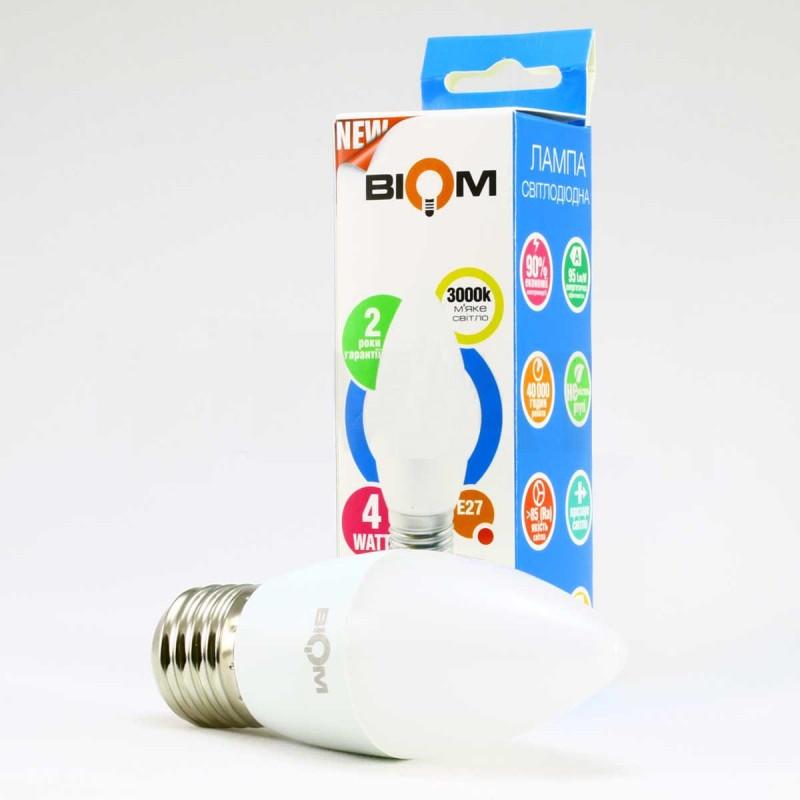 Светодиодная лампа Biom BT-548 C37 4W E27 4500К матовая (нейтральный белый)