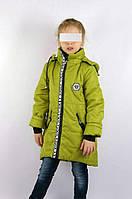 Куртка-пальто парка демисезонное подростковое для девочки 7-10 лет,хаки
