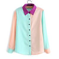 Блузка женская шифоновая трехцветная,модная женская одежда