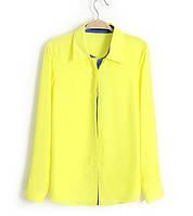Блузка рубашка женская лимонная ,модная женская одежда