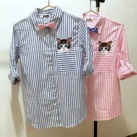 Рубашка женская стильная со съемным бантиком (котик - вышивка) ,красивая одежда