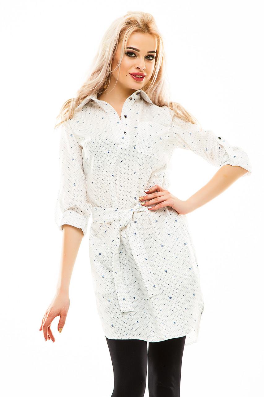 Платье- рубашка 231 белая принт