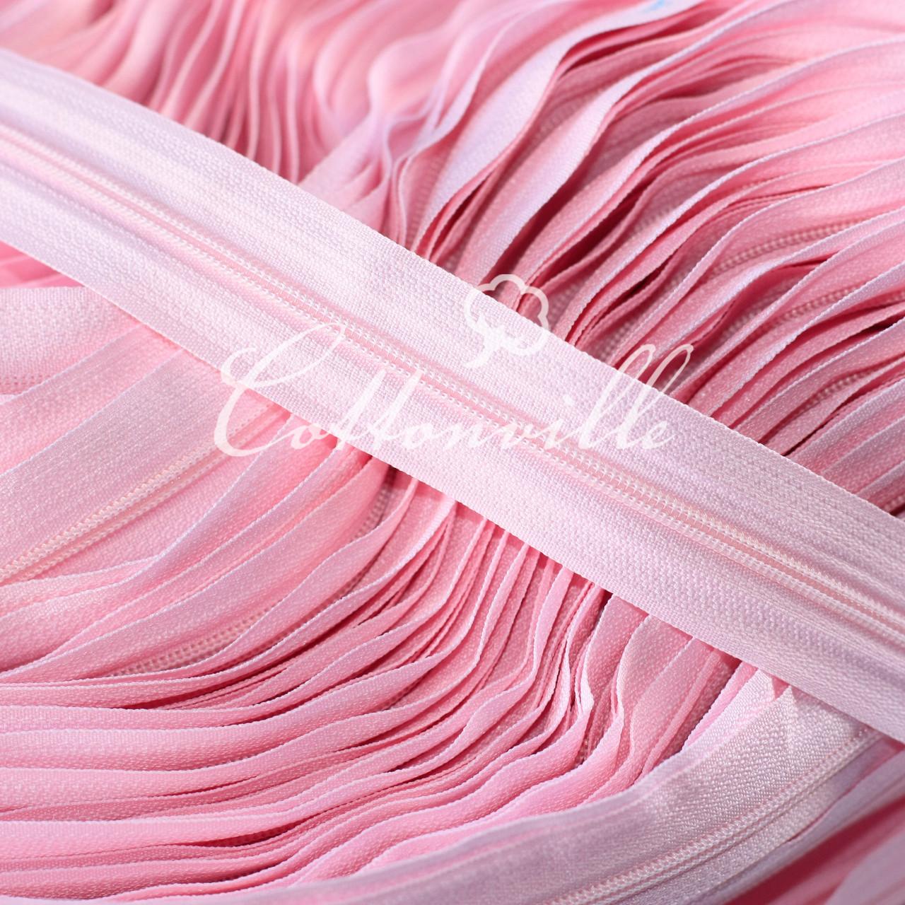 Молния спиральная прочная #3 нежно - розовая