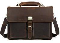 Кожаный мужской портфель TIDING BAG Т10315 коричневый