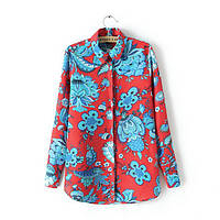 Рубашка женская яркая с принтом Zara,стильная одежда