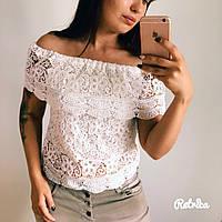 Топ женский белый из дорогого кружева ,модная одежда