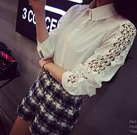 Рубашка женская белая с кружевом на рукавах,стильная одежда