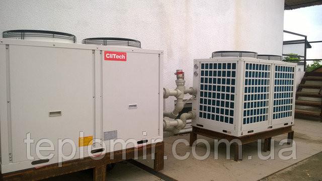 Монтаж тепловых насосов CliTech CAR-40GB для нагрева бассейна и ГВС