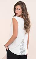 Женская летняя блуза молочного цвета с ажурной спинкой. Модель Ajsi Zaps, коллекция весна-лето 2017.
