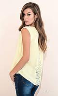 Женская летняя блуза лимонного цвета с ажурной спинкой. Модель Ajsi Zaps, коллекция весна-лето 2017.