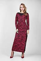 Вязаное платье меланж со вставками эко-кожи