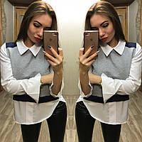 Рубашка женская хлопковая с трикотажем Имитация