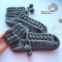 """Шикарные теплые шерстяные носочки на зиму """"Снежка грей"""" ручной работы, в подарочной упаковке."""