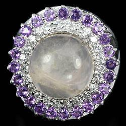 Серебряное кольцо с натуральным Кварцом Аметистом и Cz
