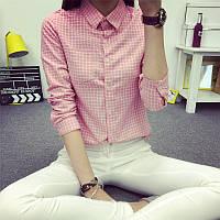 Рубашка женская в клетку (х/б, ЛЁН) в 5 расцветках
