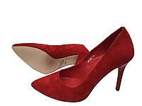Женские туфли лодочки красный замш Натуральный