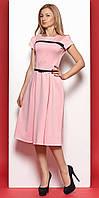 Женское трикотажное платье-миди розового цвета с коротким рукавом в классическом стиле. Модель 975 SL.