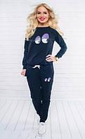 Молодежный женский спортивный костюм свободного фасона с модным прнитом рукав длинный двух нить
