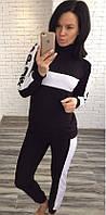 Двухцветный женский спортивный костюм свободного фасона под горлышко рукав длинный двух нить