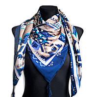 Платок Италия 110*110 см, синий-беж